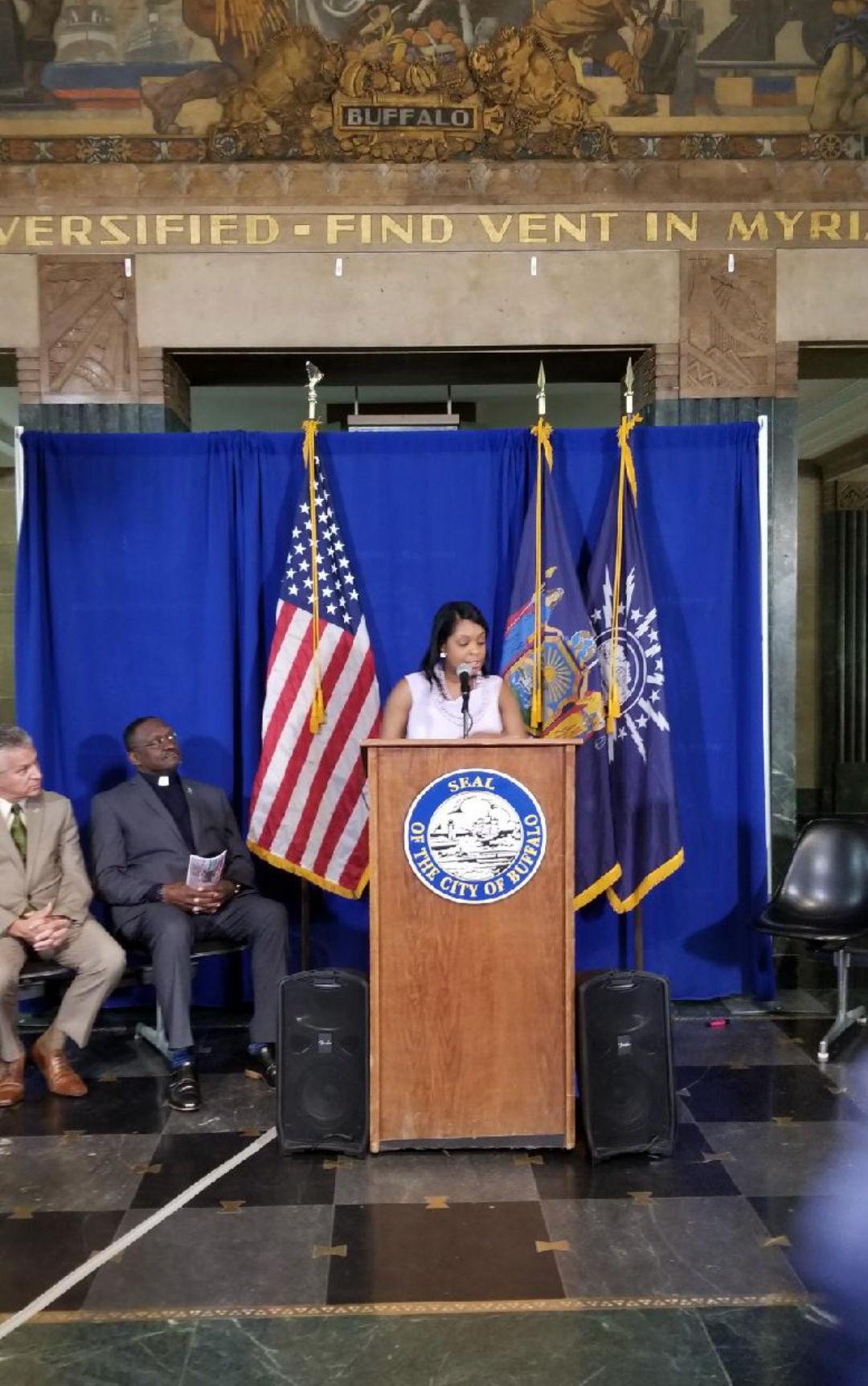 Erin speaking at Buffalo City Hall